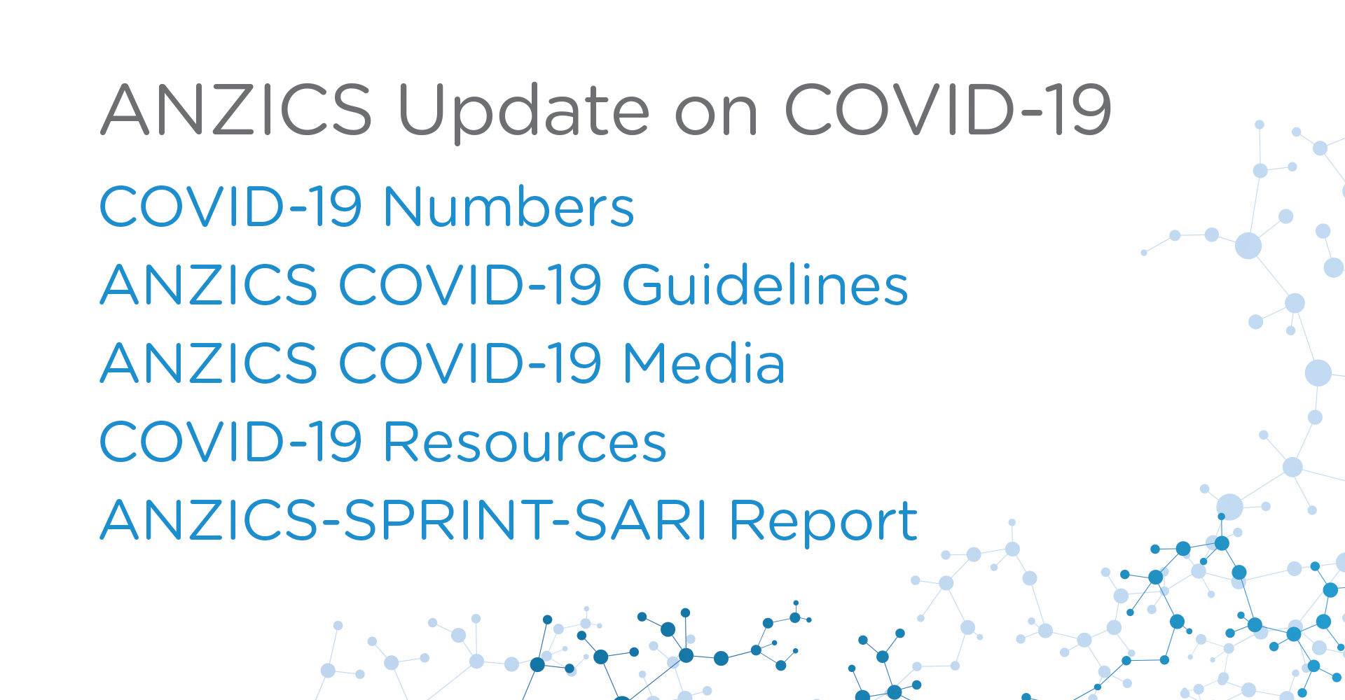 ANZICS Update on COVID-19